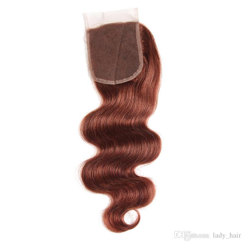 Dunkle Auburn Virgin Human Hair Spinnt mit Verschluss # 33 Kupfer Rot Brasilianisches Menschenhaar Bundles Angebote Körperwelle mit Spitze Schließung 4x4
