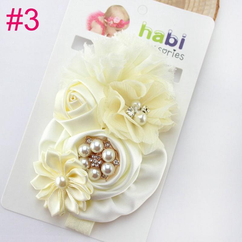 Infant Baby Big Rose Fleur Bandeau Bébé Filles Strass et Perle En Mousseline De Soie Bandeau Enfants Cheveux Accessoires HB004
