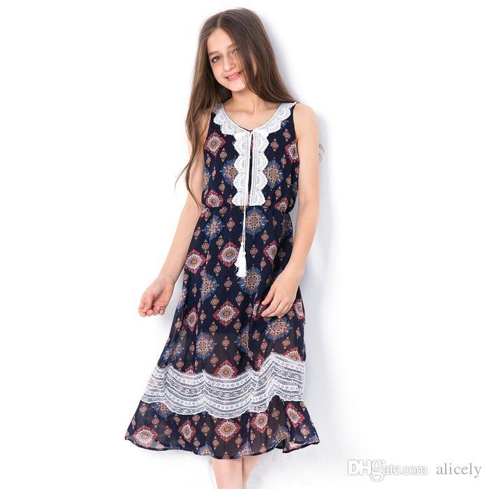 3605445f5be0 Acquista Teen Girls Dress 2018 Moda Floreale Estate Abiti Di Linea Stile  Pastorale Vestito Estivo Di Pizzo Adolescente Bambini Abiti Abbigliamento 6  8 10 12 ...