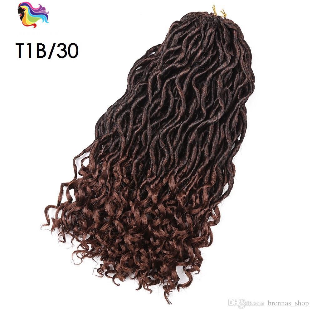 La diosa faux locs ondulado rizado para las mujeres negras ombre dos tonos de color rubio paquetes de pelo de ganchillo con extremos rizados extensión de pelo sintético EE. UU.