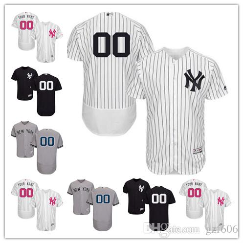 online store 25ec0 87e70 custom Men s women youth Majestic New York Yankees Jersey Personalized Name  and Number Black Grey White Kids Girls Baseball Jerseys