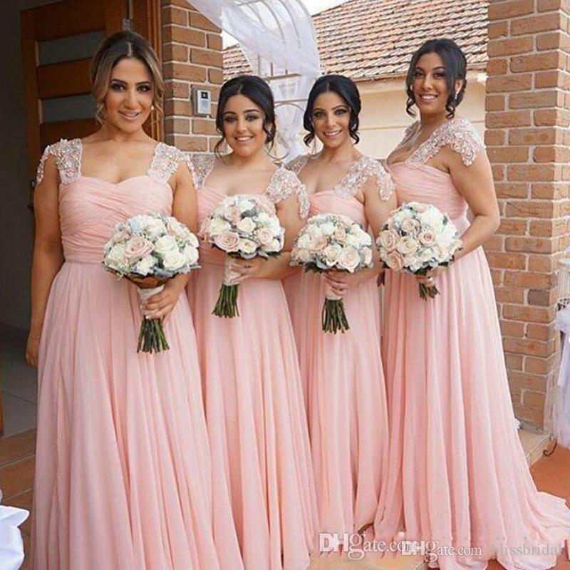 Elegante rosa mit einer Kappe bedeckte Brautjunfer-Kleid-Rüsche-Spitze-lange Chiffon- Kleid-Land-Art-Strand-Trauzeugin-Kleider, die formelle Kleidung formal heiraten