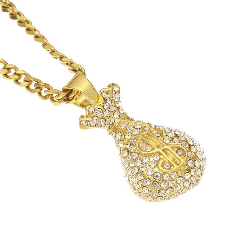 Lujo Hip Hop collar 316L de acero inoxidable chapado en oro Rhinestone Dollar Bag colgante collar para hombres mujeres bonito regalo NL-604