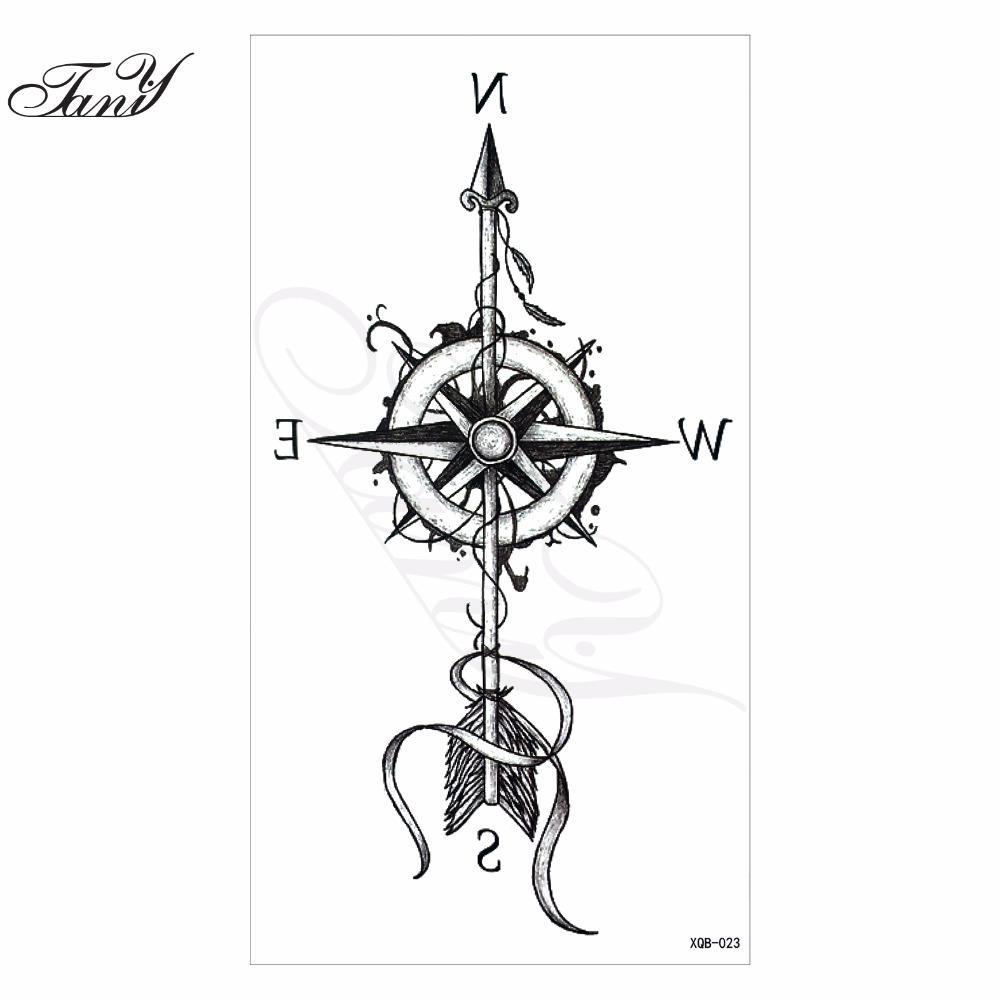 2017 new models waterproof temporary tattoo compass tatoo henna fake flash tattoo stickers taty