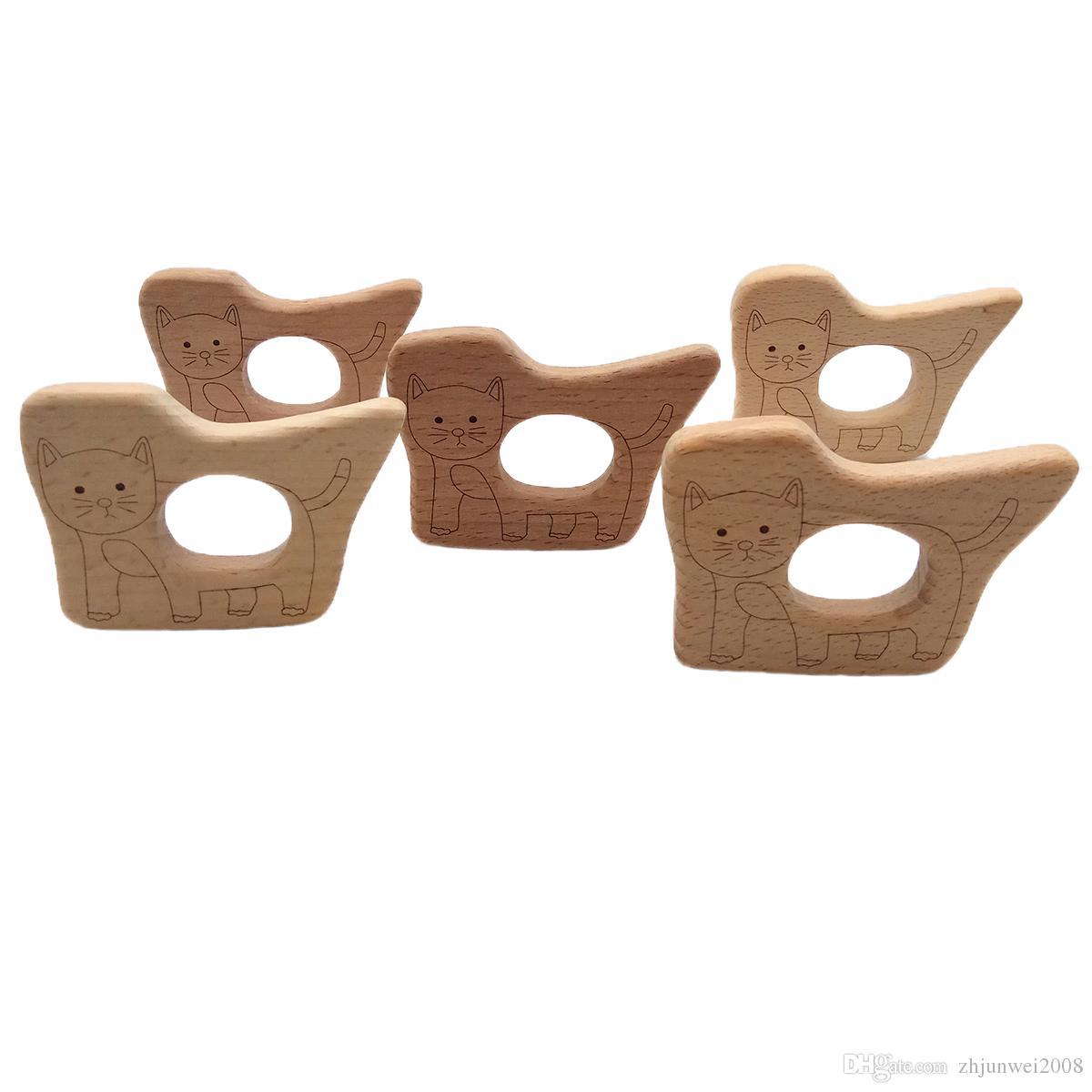 براعم خشبية الأناناس الخيزران الطبيعي براعم القط الفيل قلادة الزان الخشب استيعاب عربة لعبة العضوية هدية ل الوليد الطفل عضاضة