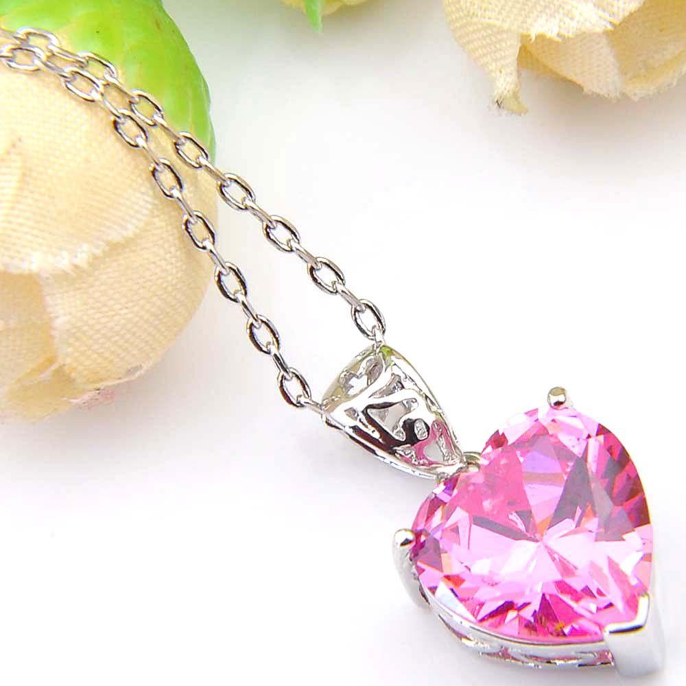 Farbige Anhänger 925 Sterlingsilber-Halskette LuckyShine Herz für Frauen Cz Zircon Anhänger Hochzeit Engagemets Braut Schmuck Geschenk