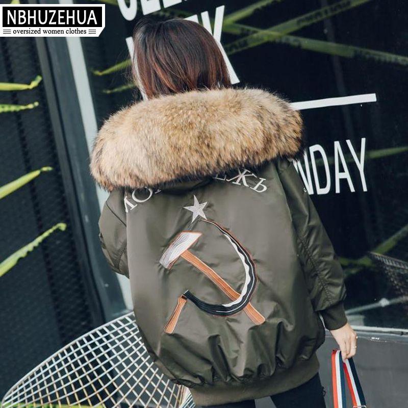 NBHUZEHUA T693 4XL 5XL 6XL Real Fur Hooded Women Down Coat Punk Embroidery Duck Down Jacket Plus Size Down Coats Parkas Clothes