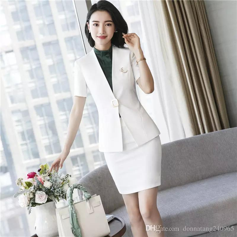 4363391b755c 2019 Formal Skirt Suits With Tops And Skirt For Business Women Professional  Blazers Uniform Styles Outfits Elegant From Dujotree