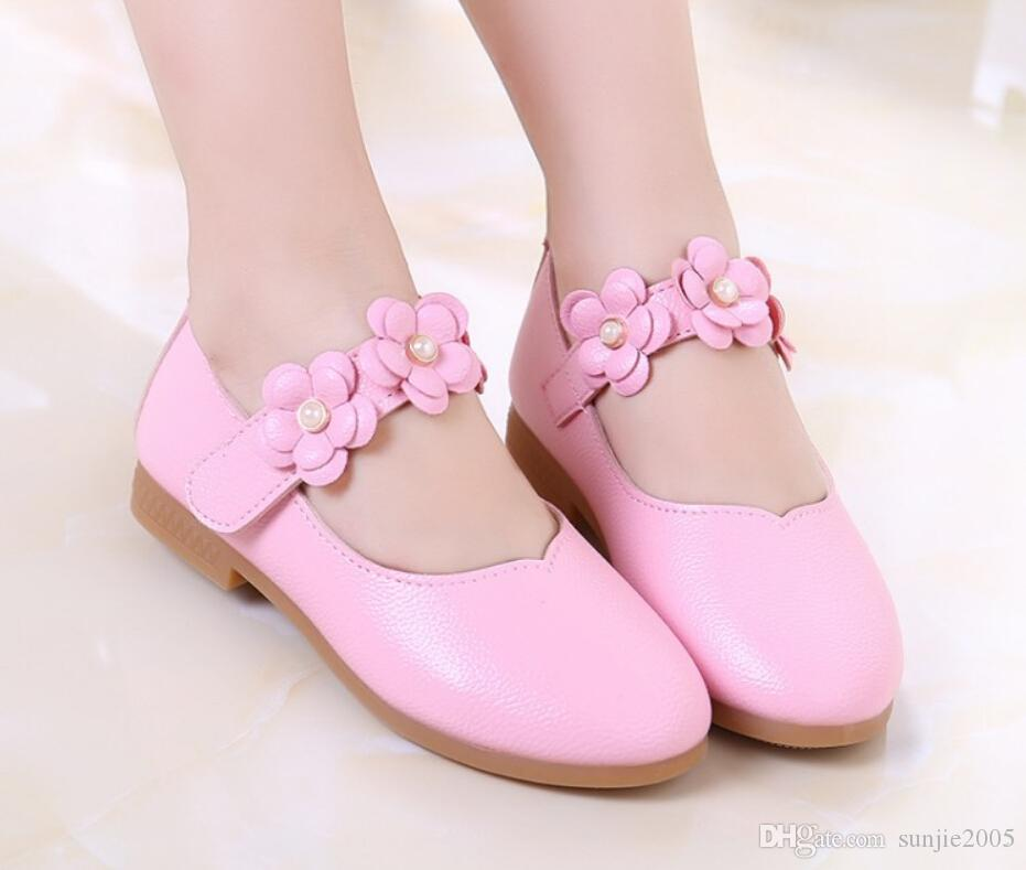 White Pink Kids Baby Toddler Flower Children Wedding Party Dress Princess Leather Shoes For Girls School Dance Shoes