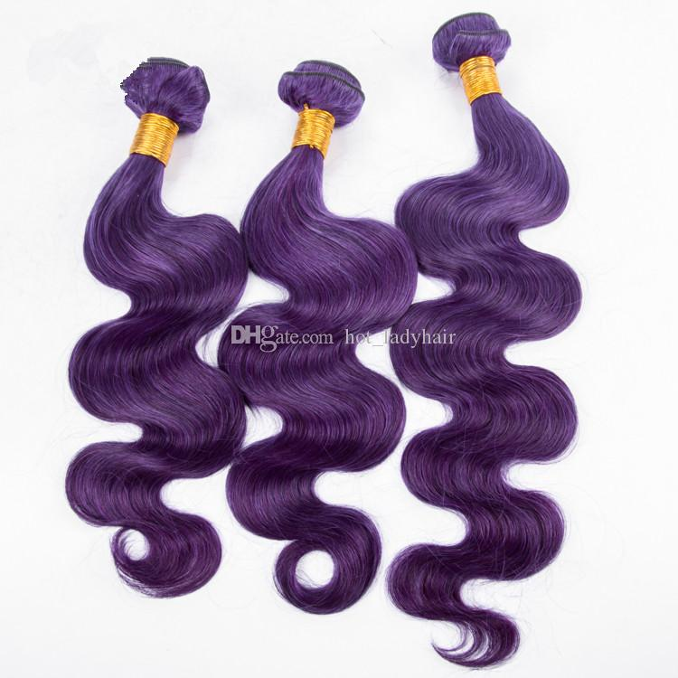 8A Grade Indian Body Wave Virgin Human Hair Bundles Dark Purple Wavy Human Hair Weave Extension Dhl Free Dhl Free