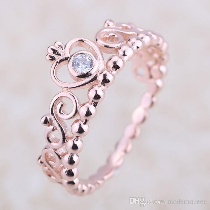 5892693d3 Princess Tiara Ring Crown Rose Gold Plated Original S925 Silver Fits for  Pandora Style Jewelry H8ale H8 Pandora Rose Gold Ring Crown Pandora Rings  Crown ...