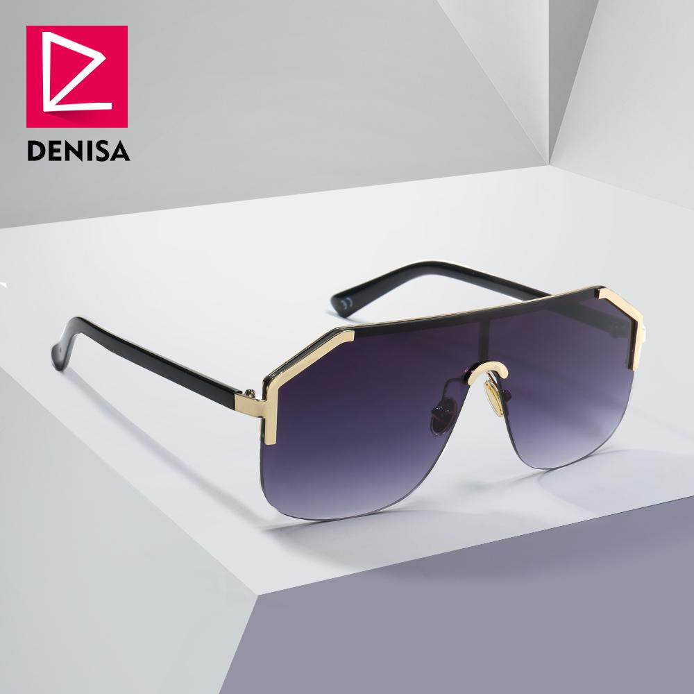db091fe8dbf DENISA Blue Oversized Rimless Sun Glasses Men New 2018 One Piece ...