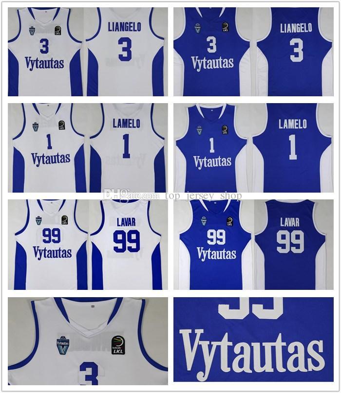 bf0653f7917 2019 Men Lithuania Prienu Vytautas 1 LaMelo Ball Jerseys 3 LiAngelo Ball  Uniform 99 LaVar Ball All Stitched Blue White Basketball Shirt From  Top_jersey_shop ...