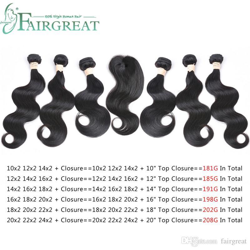 Fairgreat 6bundles Remy Capelli umani Onda del corpo diritto con chiusura Fasci di capelli umani con chiusura in pizzo Estensioni brasiliane dei capelli umani