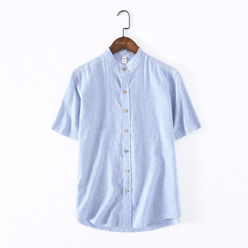 9ea6f76d8e 2019 Hot Sale Mens Striped Short Sleeve Shirts Summer Classic Linen Clothing  Slim Solid Color Tops Chinese Collar Fashion Shirt XXXL From Maluokui