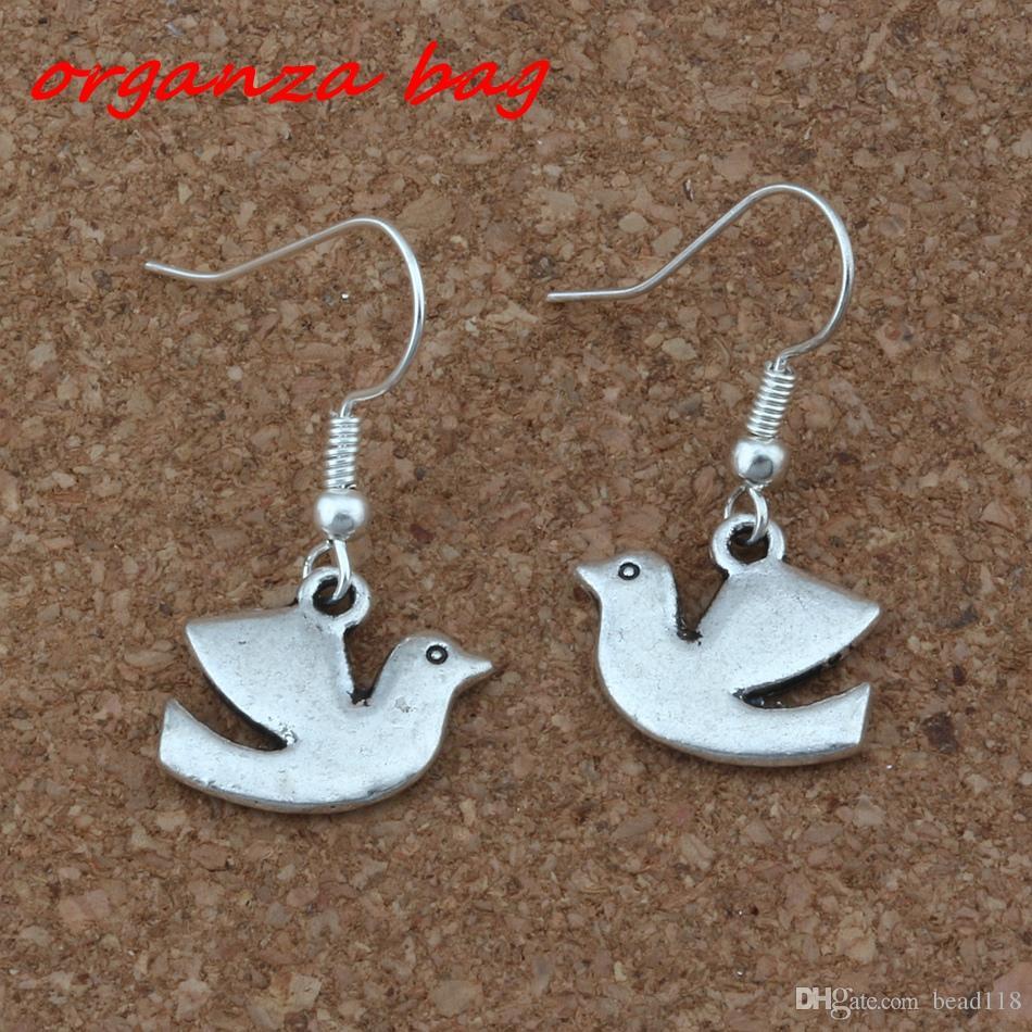Peace Dove Bird Earrings Silver Fish Ear Hook Antique Silver Chandelier Jewelry 17x30.5mm A-250e