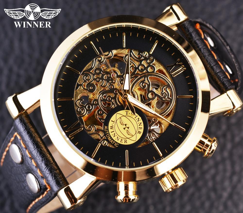 39eb472dc7c6 Compre Relojes Mecánicos Relojes De Pulsera Ganador Caso De Oro De ...