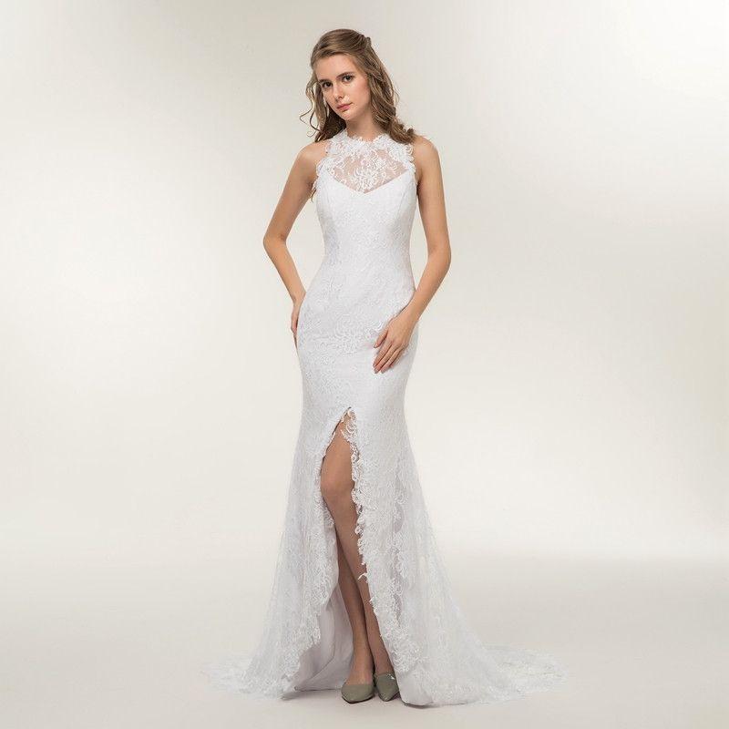 8968713b93938 2018 New Beach Mermaid Simple Wedding Dress Beautiful Cheap Appliques Lace  Open Back Bridal Dress Vestido De Noiva Split Front Wedding Gowns