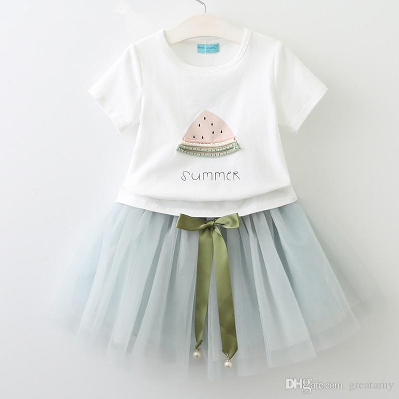 kids clothing girls fashion dress set short sleeve T-shirt+skirts girl's outfits children set kids boutiques dresses summer boutique suit