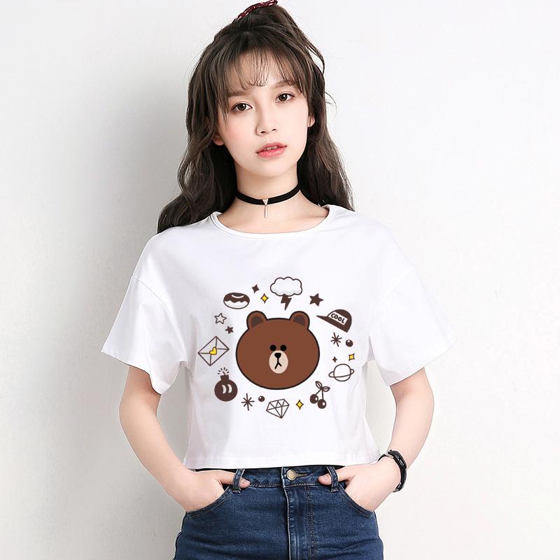 1bfc246e 2017 Brown and Cony Young Girl T-Shirt Cute Cartoon Bear Short Sleeve Crop  Top Women Soft T Shirts Kawaii Girl's Cropped Hwd015