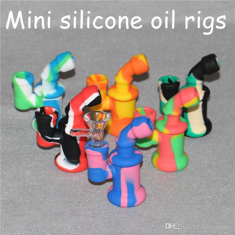Cheap Price! Mini Bubbler Small Silicone Water Pipe Ash Catcher Inline Percolator Hand Glass Bongs Oil Rig Mix Colors