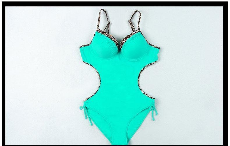 Sexy Leopard Swimsuit Ladies Push-Up Swimsuit Swimwear Women Slim-Fit Backless Swimming Suit Beach Bathing Suit Plus Size