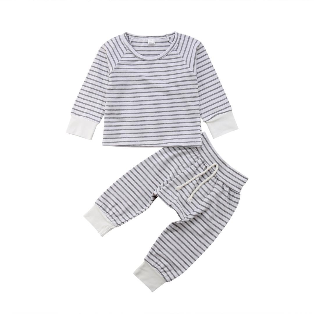 98ca254740 Emmababy 2pcs Newborn Baby Boy Girl Unisex Long Sleeve Casual Striped Tops T  Shirt+Long Pants Outfits Clothes Set