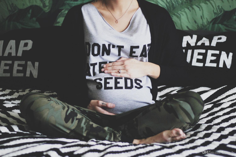 2018 الصيف لا تأكل بذور البطيخ رسالة نقية المطبوعة قصيرة الأكمام الأمومة تي شيرت الأمومة الملابس القطنية لينة لمس 6 أحجام