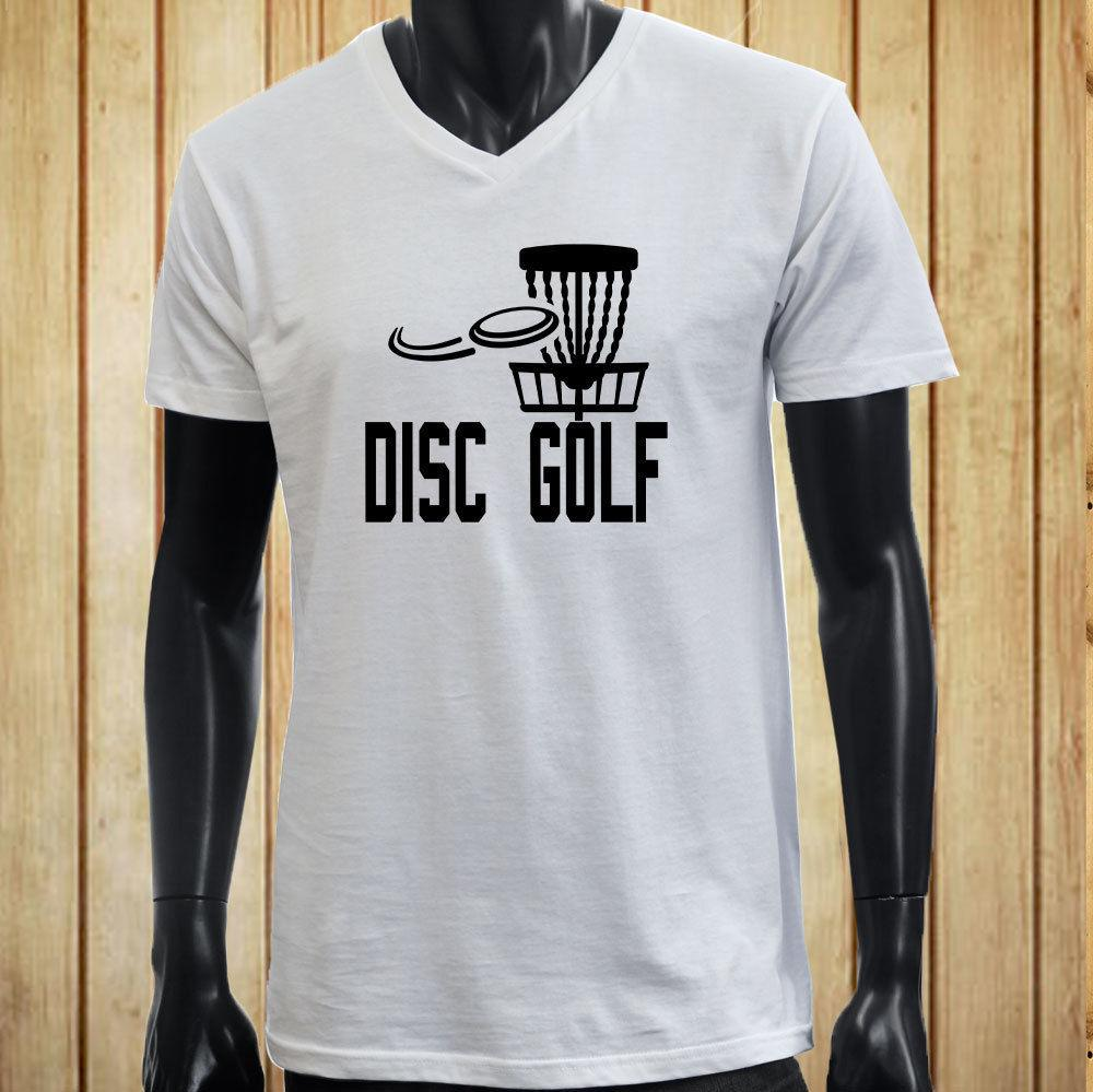 Disc Golf Flying Disc Game Target Play Mens White V Neck T Shirt