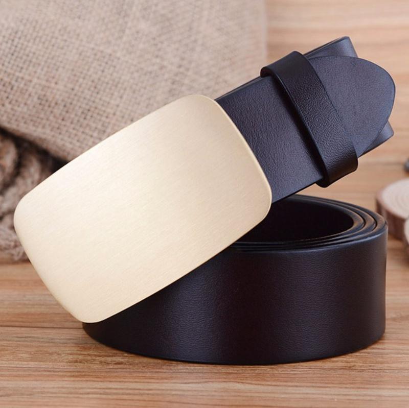 Compre Hebilla De Latón Macizo Cinturón De Cuero Real Para Hombres  Cinturones Para Hombre Correa De Lujo Marrón Negro Cinto Ceinture Riem  Cintura De Oro ... b172a916076c