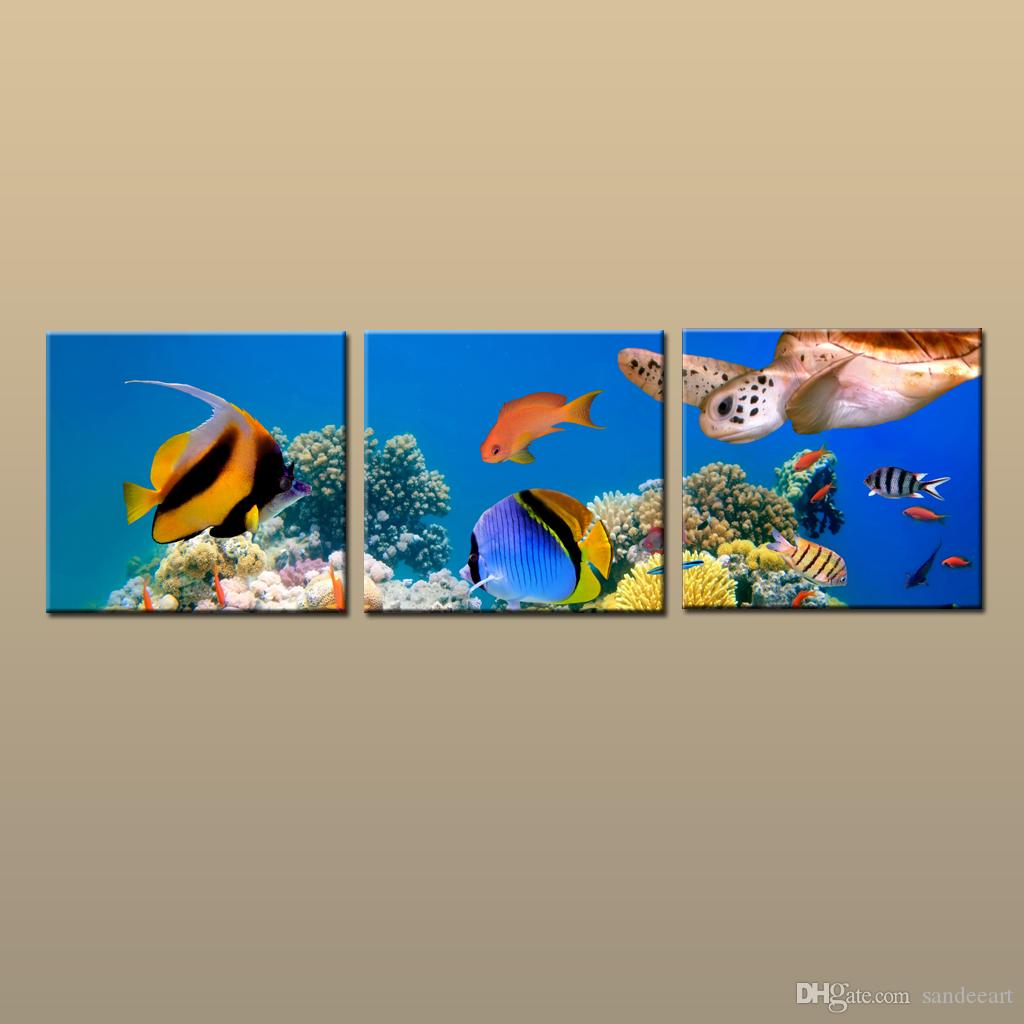 Framed/Unframed Hot Modern Canvas Wall Art Print Painting Turtle Underwater Sea Seascape Picture 3 piece Living Room Home Decor ABC104