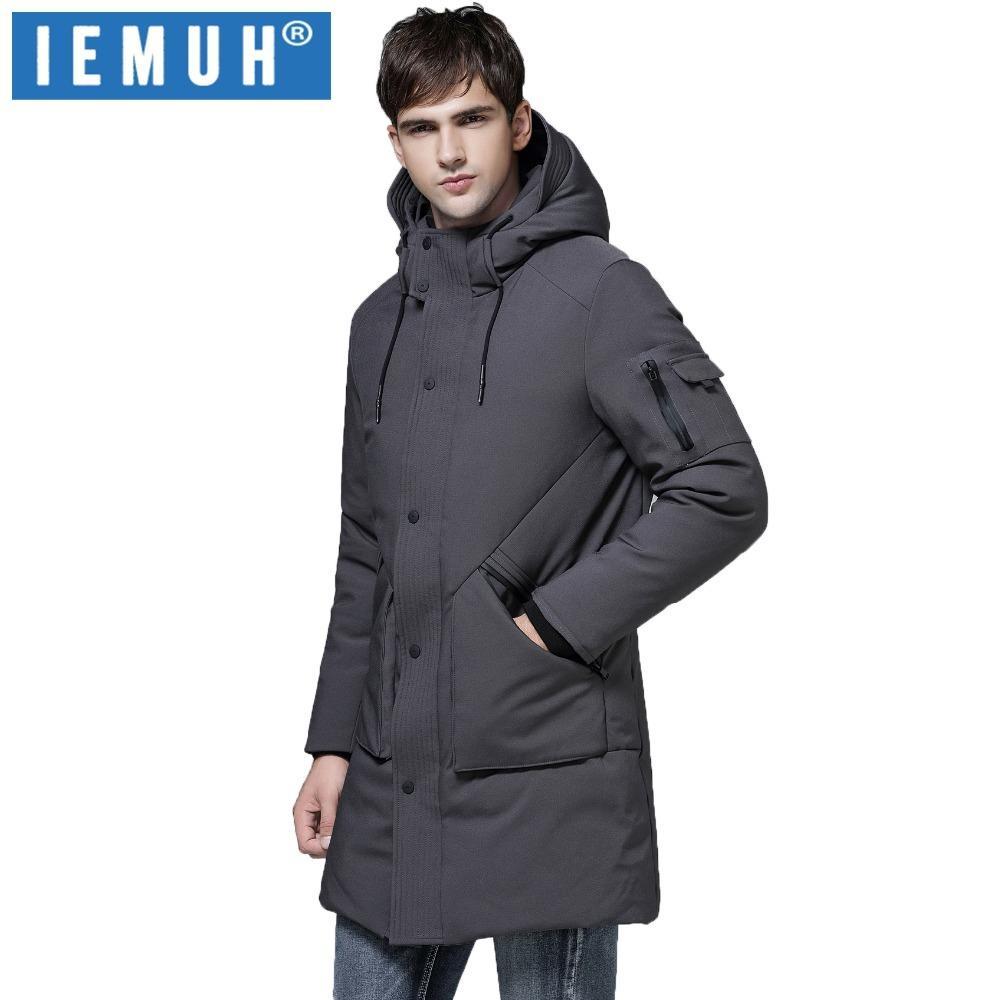 538b6dbffc40 Großhandel Iemuh Mode Winter Outwear Daunenjacke Männer Winddicht  Wasserdicht Grau Ente Daunenmantel Parka Männlich Lange Plus Größe Dicke  Warme Mantel ...