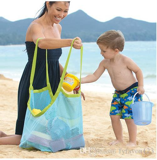 Sac de rangement pliant enfants de plage jouets sac de finition bébé bord de mer réseau de voyage sacs maill