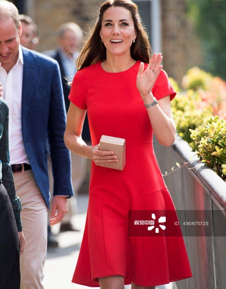 Grosshandel Prinzessin Kate Middleton A Linie Kleid Rot 2018 Fruhling