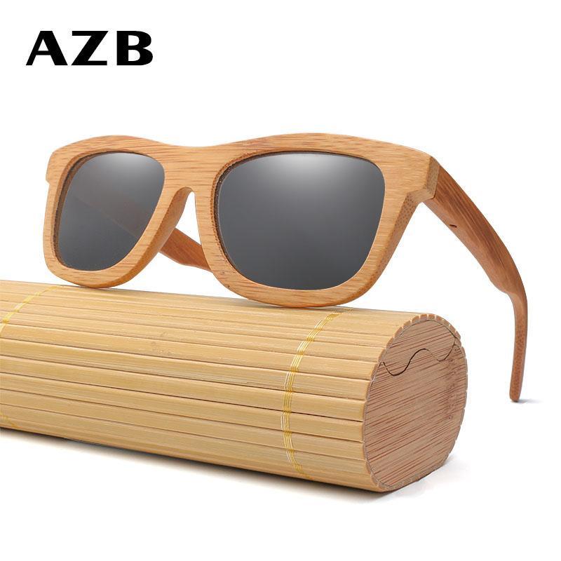 5a4f0a78b5 AZB Men Women Vintage Bamboo Wooden Sunglasses Polarized Mirror ...