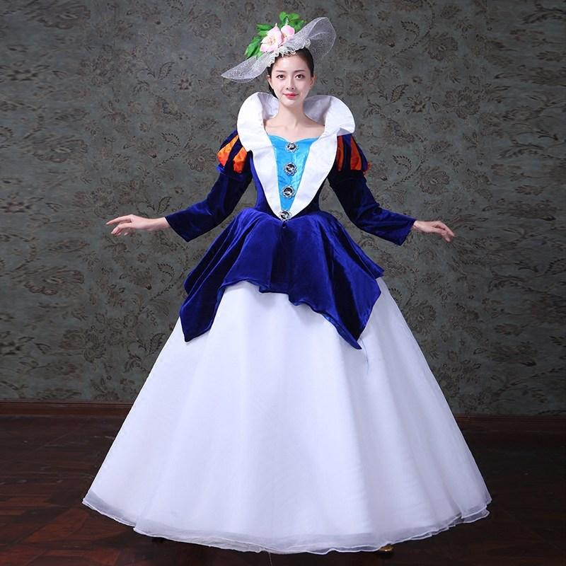 Renaissance Princess Colonial Period Floral Dress Ball Gown Theater ...