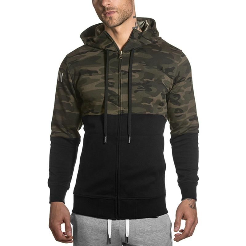 Running Jackets Camouflage Jackets Running Zipper Hoodies Muscles Bodybuilding Fitness Sportswear Warm Coat Camouflage Hooded Camo Army Clothing