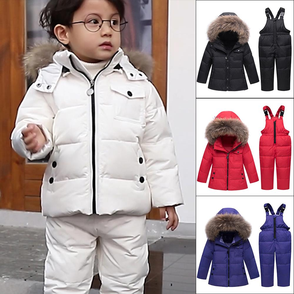 df4500c57 Winter Suits For Boys Girls Boys Ski Suit Children Clothing Set Baby Duck Down  Jacket Coat + Overalls Warm Kids Snowsuit