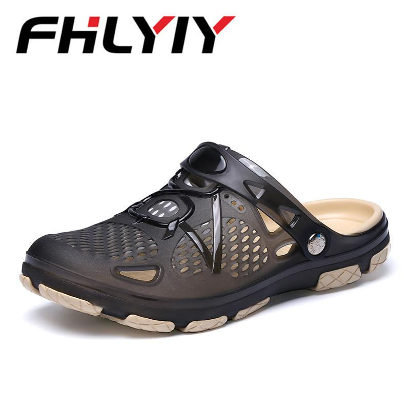 0cc9cfc02371a4 Men Sandals 2018 New Summer Style Men Beach Shoes Hollow Slippers Hole  Breathable Flip Flops Non Slip Sandals Clogs Outside Jesus Sandals Black  Wedges From ...