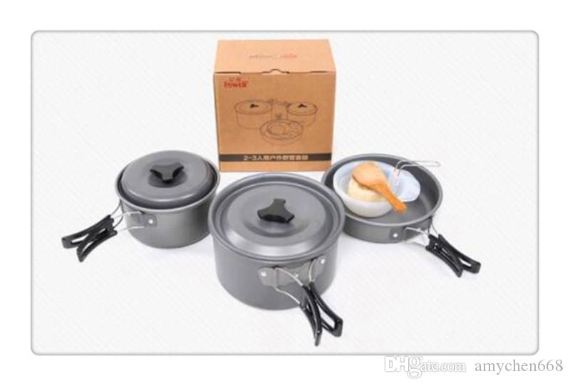 Outdoor Camping Hiking Backpacking Picnic Cookware Cooking Tool Set Pot Pan Travel Cookware