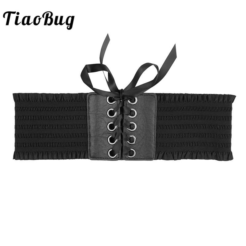 edff90dd07 TiaoBug Women Girls Vintage Lace Up Cummerbund Elastic Stretch Wide  Waistband Floral Lace Corset Belt Palace Costume Accessories Yellow Belt  White Belt From ...