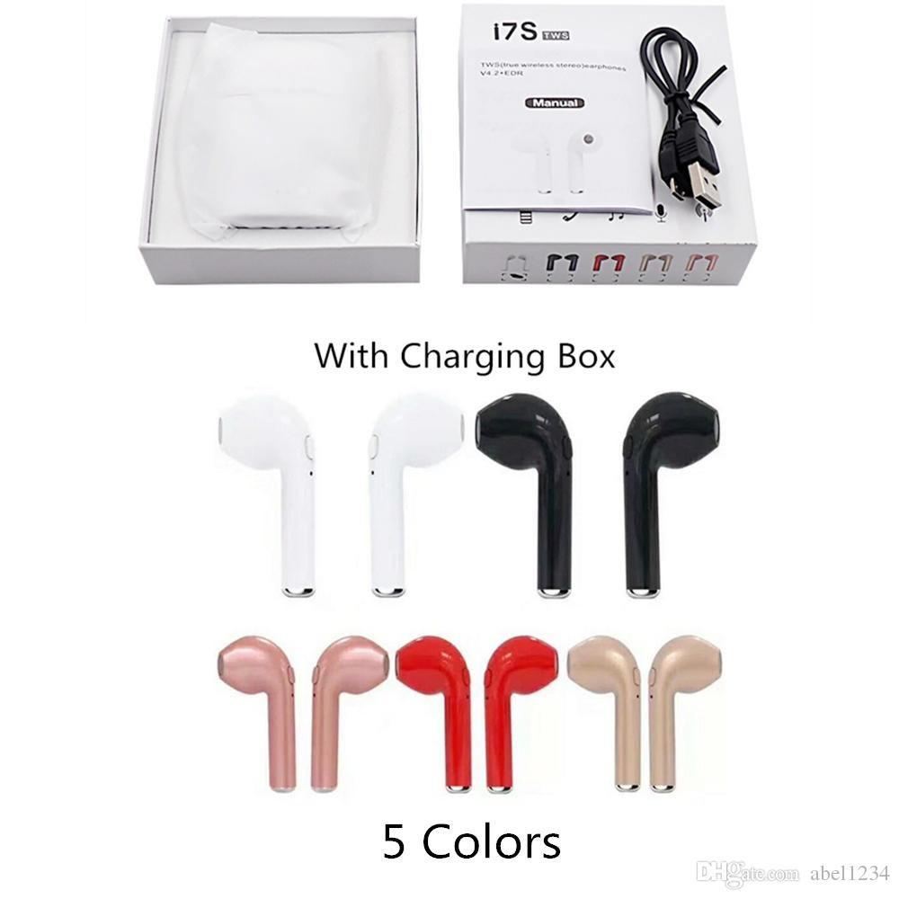 Bluetooth Wireless Earphone I7S TWS Twins Wireless Earbuds With Charger Box  V4.2 Stereo Headphone For IPhone X IOS Android Wireless Phone Headsets Cell  ... a918a496b60d