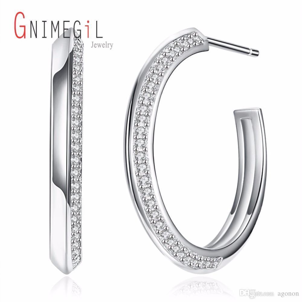 2018 Gnimegil Hoop Earrings 925 Sterling Silver For Women New Big