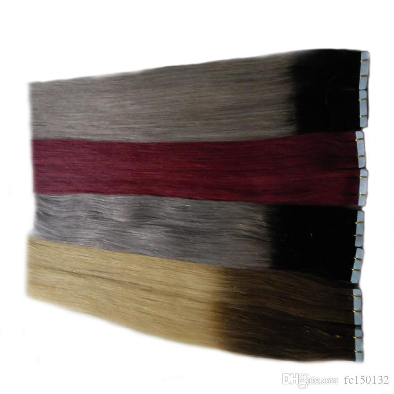 ملحقات الجلد لحمة الشريط رمادي 100 جرام البرازيلي مستقيم الشعر 40 قطعة pu أومبير الشريط في الشعر الإنسان ملحقات t1b / رمادي # 2/613 # 99J