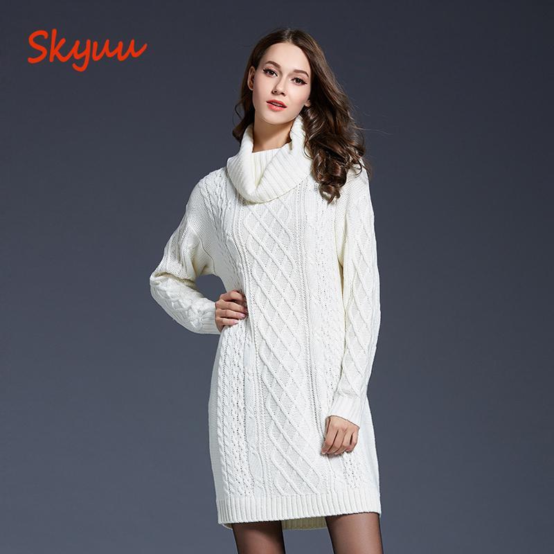 a6520cbb5 Compre Skyuu 2018 Inverno Camisola Vestido Plus Size Mulheres Manga Longa  Gola Alta Branco Mini Vestido De Malha Senhora Camisola Vestidos Para O  Inverno De ...