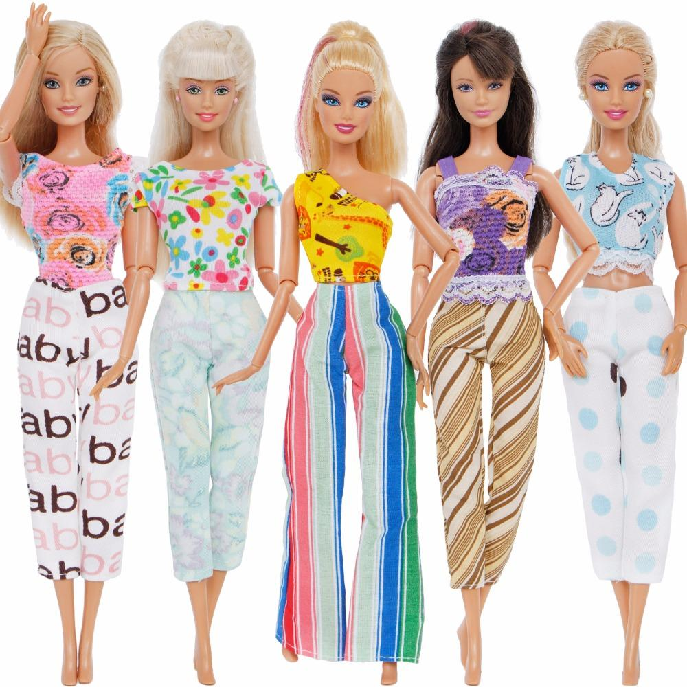 4e1a3d8568ee9 Satın Al El Yapımı Renkli 5 Takım Lady Kıyafetler Yaz Gündelik Giyim Karışık  Stil Yelek Bluz Pantolon Giysi Bebek Aksesuarları Oyuncaklar Için, ...
