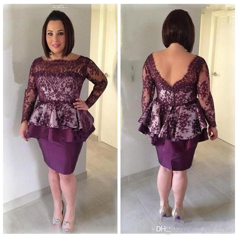 2018 Grape Lace Sheath Mother Dresses Low Back Long Sleeves Short Mother Of The Bride Gowns Knee Length Women Formal Party Cocktail Dress
