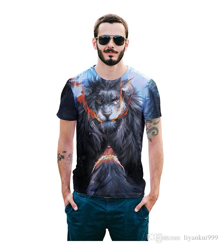 2018 лето и новый творческий Angry Lion голова тотем 3D печать футболки персонализированные улица рубашка с короткими рукавами
