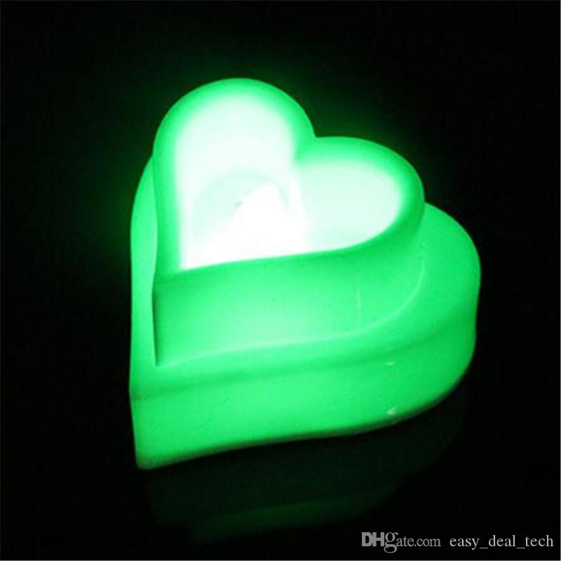 LED Heart Shaped Battery Powered Tea Light Candles Light Romantic Proposal Exquisite For Wedding Propose Birthday Party Dec Q0639