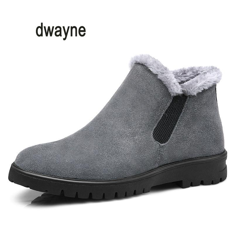 fae5e28d61b Dwayne Brand Leather Sneakers Male For Men Shoes Adult 2018 Winter Warm Fur  Comfortable Short Plush Lace Up Footwear Quality Snowboard Boots Rubber  Boots ...
